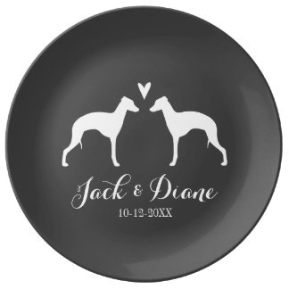 Italian Greyhound Silhouettes with Heart Plate