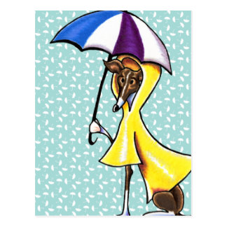 Italian Greyhound Umbrella Crazy Postcard