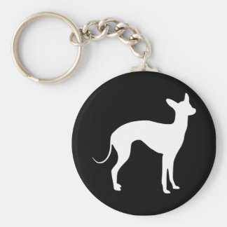 Italian Greyhound White on Black Basic Round Button Keychain