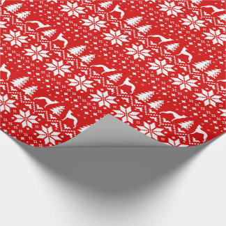 Italian Greyhounds Christmas Sweater Pattern Red Wrapping Paper