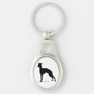 Italian gureihaundokihoruda Italian Greyhound Silver-Colored Oval Keychain