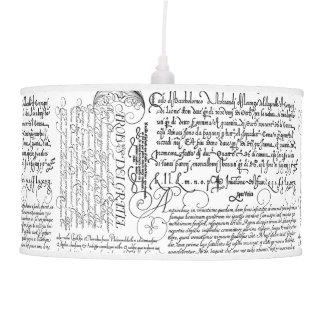 Italian Handwriting Calligraphy Vintage Art Lamp