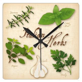 Italian Herbs, Basil, Oregano, Parsley, Garlic Square Wall Clock