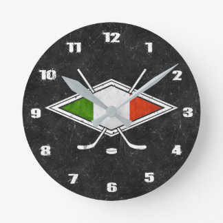 Italian Hockey Flag Clock, Hockey Su Ghiaccio Round Clock
