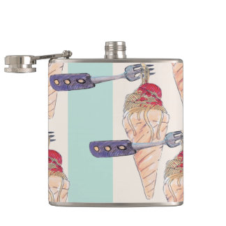 italian hoists cream hip flask