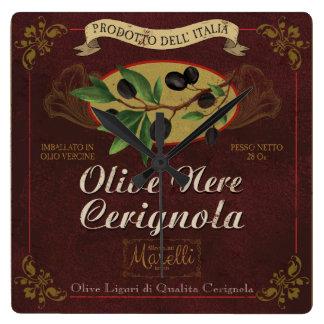 Italian Kitchen Clock, Retro Olives Label Wallclock