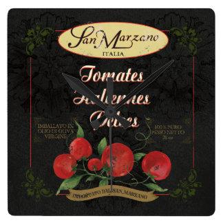 Italian Kitchen Clock, Retro Tomatoes Label Square Wall Clock