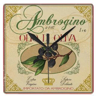 """""""Italian Kitchen Clock, Vintage Olive oil label Wall Clocks"""