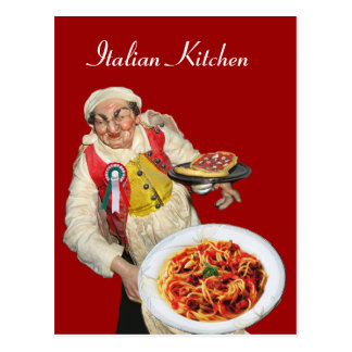 ITALIAN KITCHEN Red Recipe Postcard