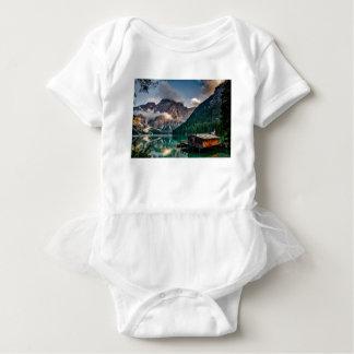 Italian Lake-Side Mountain Cabin Baby Bodysuit