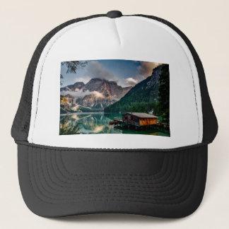 Italian Lake-Side Mountain Cabin Trucker Hat