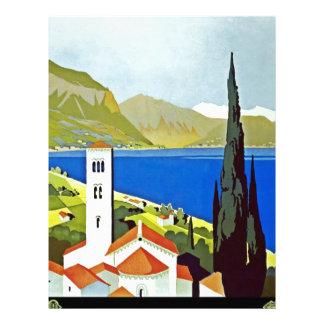 Italian Lakes District Vintage Travel Poster Customized Letterhead