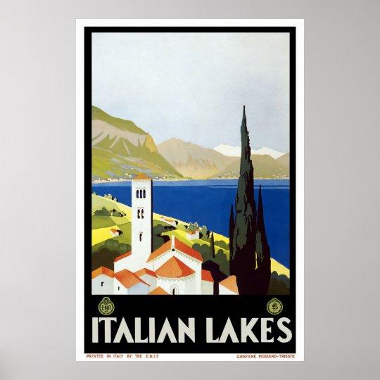 """Italian Lakes"" Vintage Travel Poster"
