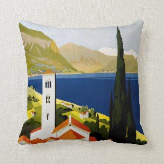 Italian Lakes vintage travel throw pillow