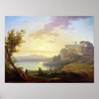 Italian Landscape, Setting Sun Poster