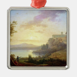Italian Landscape, Setting Sun Silver-Colored Square Ornament