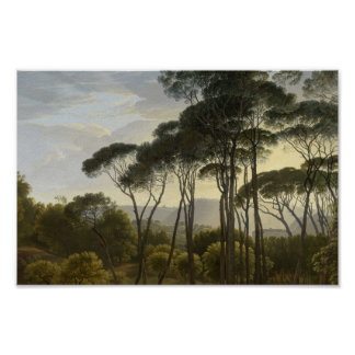 Italian Landscape with Umbrella Pines Oil Painting Poster