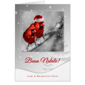 Italian Language Christmas Red Cardinals Card