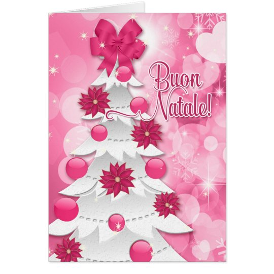Italian Language Pink Poinsettia Christmas Tree Card