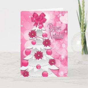 Italian language cards greeting cards more zazzle ca italian language pink poinsettia christmas tree holiday card m4hsunfo
