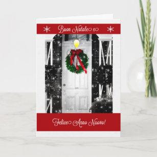 Italian language cards greeting cards more zazzle ca italian language wreath on the door buon natal holiday card m4hsunfo