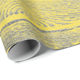 Italian Lemonade Yellow Gray Silver Wood Shabby Wrapping Paper