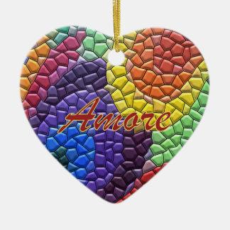 Italian Love Rainbow Mosaic Heart Ornament