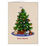 Italian, Merry Christmas Tree, Birds, Cat, Dog