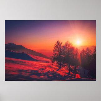 Italian Mountain Sunset - Vivid Red Poster