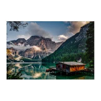 Italian Mountains Lake Landscape Photo Acrylic Wall Art