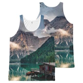 Italian Mountains Lake Landscape Photo All-Over-Print Tank Top
