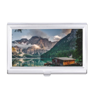Italian Mountains Lake Landscape Photo Case For Business Cards