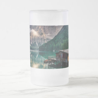 Italian Mountains Lake Landscape Photo Frosted Glass Beer Mug