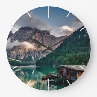 Italian Mountains Lake Landscape Photo Large Clock