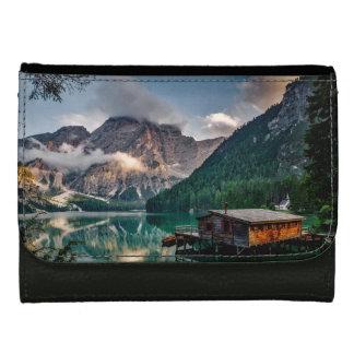 Italian Mountains Lake Landscape Photo Leather Wallet For Women
