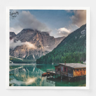 Italian Mountains Lake Landscape Photo Paper Napkins