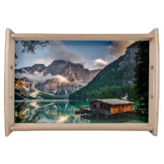 Italian Mountains Lake Landscape Photo Serving Tray