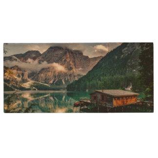Italian Mountains Lake Landscape Photo Wood USB 3.0 Flash Drive