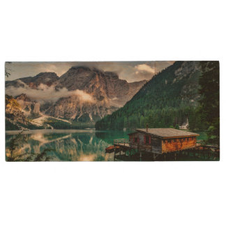 Italian Mountains Lake Landscape Photo Wood USB Flash Drive