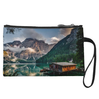 Italian Mountains Lake Landscape Photo Wristlet Purse