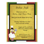 "Italian Night Dinner Party Invitation 4.25"" X 5.5"" Invitation Card"
