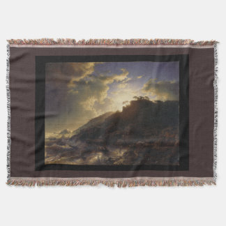 Italian Ocean Coast Sunset Boats Throw Blanket