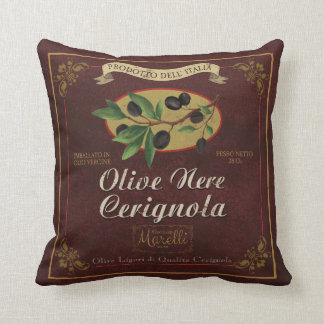 Italian Olives Retro Label Art Pillow