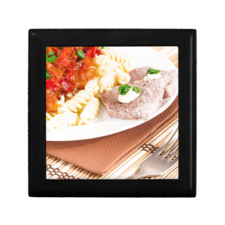 Italian pasta and slices of meat keepsake box
