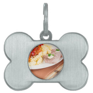 Italian pasta and slices of meat pet name tag