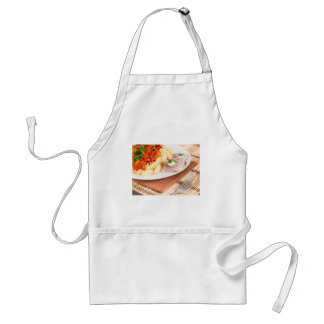 Italian pasta and slices of meat standard apron