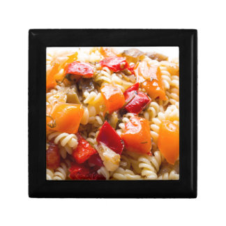 Italian pasta fusilli with vegetable ragout of pep trinket boxes