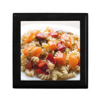 Italian pasta fusilli with vegetable sauce jewelry box