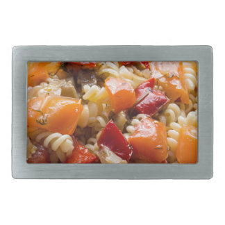 Italian pasta fusilli with vegetable sauce rectangular belt buckles