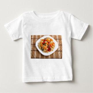 Italian pasta fusilli wooden background baby T-Shirt
